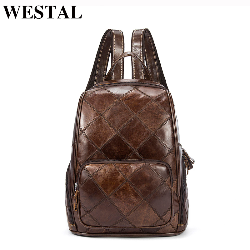 WESTAL Plaid Women Backpack Leather Backpacks for Teenagers Girls School Bag Female Shoulder Bag Lady Travel