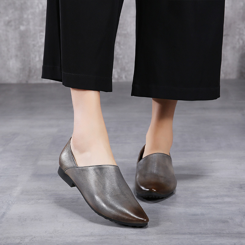 2018 Spring Retro Leisure Women Flat Shoes Pointed Toe Loafers Handmade Soft Bottom Fashion Ladies Flats 2016 the new leisure women pointed toes loafers leopard black gray female rivet flat shoes for women s shoes a24