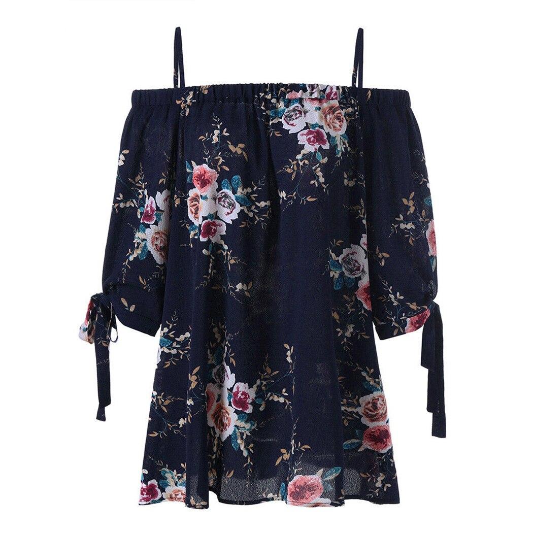 Bohemian Floral Womens Plus Size Casual   Blouse     Shirts   Ladies Off Shoulder Half Sleeve Summer Tops Blusas Femininas 4XL 5XL