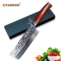 YARENH 6.5 inch kitchen knife nakiri vegetable knives Japanese VG10 Damascus steel slicing chef knife dalbergia wood handle