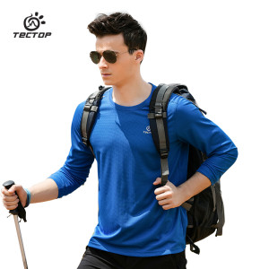 Wrench Ingenious Tectop Outdoor Men Women Long Sleeve T-shirt Couple Solid Color Elasticity Quick-drying Breathable Scratch-proof Camping T-shirt Fashionable And Attractive Packages