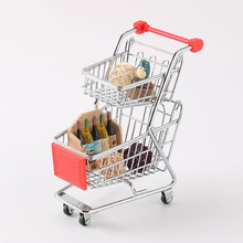 Mini Simulation Small Supermarket Shopping Cart Children Handcart Beauty Egg Tray Makeup Storage Desktop Ornaments Posing Props