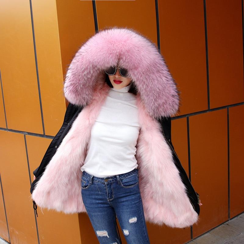 2017 New Fashion Women Luxurious Large Coat Warm Fox Fur Liner Parkas Winter Jacket 2017 new fashion women luxurious large raccoon fur collar coat warm rabbit fur liner parkas long winter jacket top quality