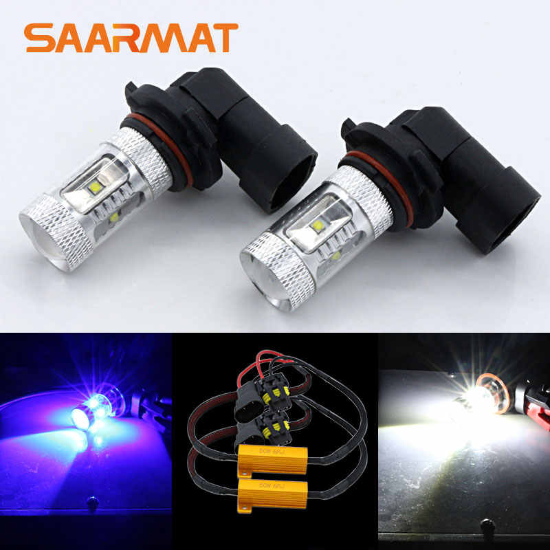 2x 9006 HB4 White Blue LED 30W Fog Light DRL+Canbus Decoder For Volkswagen Eos Golf 6 MK6 Touareg Jetta Tiguan Passat GTI Rabbit
