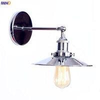 IWHD Prata Ferro Industrial LEVOU Luminárias de Parede Do Quarto Ao Lado Da Lâmpada Do Banheiro Arandela Edison Loft Estilo Vintage Wandlampen