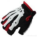 Men Fingerless Fitness Halloween Skeleton Hand Black Glove Anti Slip Hlaf Finger Workout Black Rubber Winter Gloves 4 Color M XL