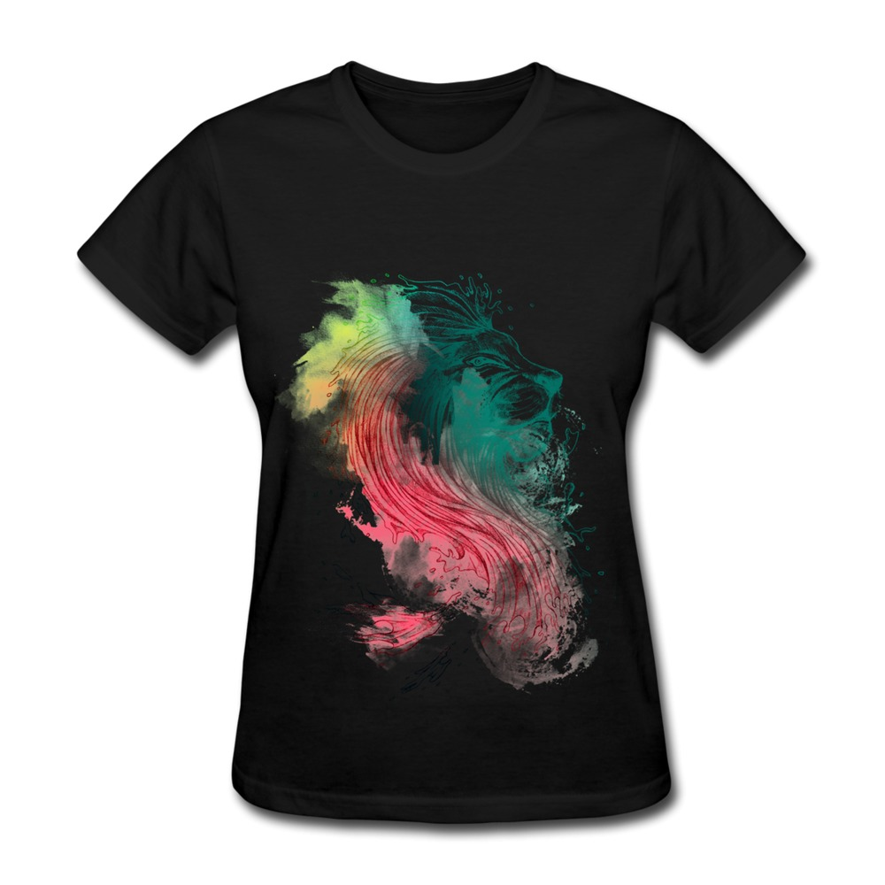 T Shirt Women Solid Neon Lion Design Your Own Round Neck T