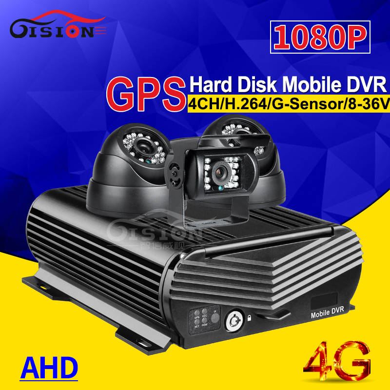 4CH Hard Disk Car Mobile Dvr ,4G Real Time GPS Tracking CCTV AHD Camera Mdvr Kits I/O Alarm G-sensor Video Recorder Kits