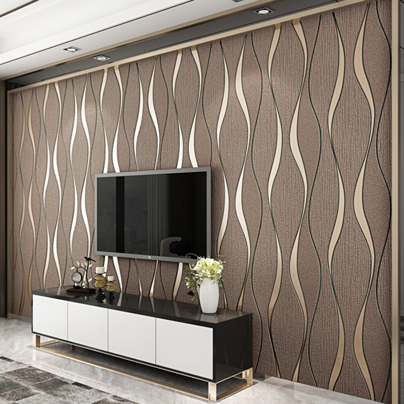 Papel tapiz de rayas 3D para paredes rollo Sala TV decoración de fondo de pared papel papeles tapiz decoración del hogar papel pintado moderno Papel tapiz no tejido de estilo europeo papel tapiz clásico rollo púrpura/gris papel tapiz de lujo papel de pared floral papel de pared V1