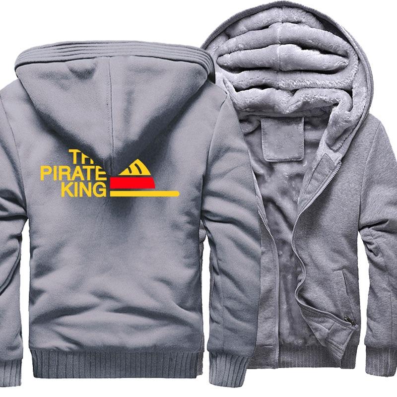 THE PIRATE KING Print Streetwear Hoody 2018 Fashion Zipper Thick Coat ONE PIECE Sweatshirt For Men Anime Hip Hop Men's Hoodies
