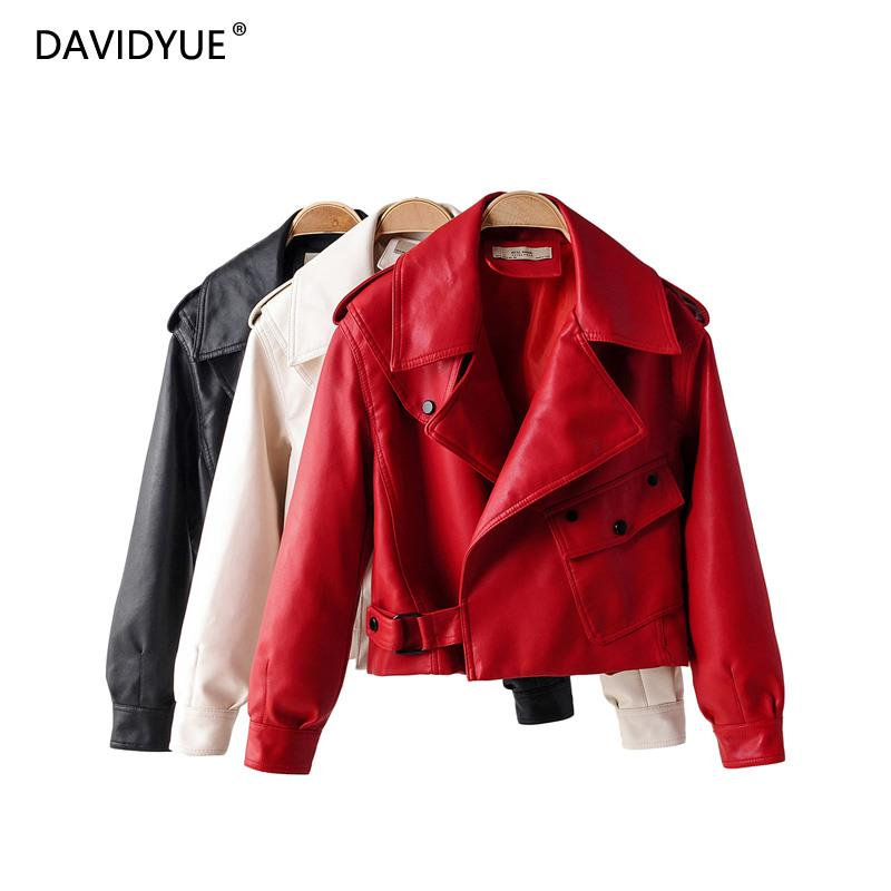 Pocket red biker jacket women trun down collar black   leather   jacket casual white PU coat streetwear korean fashion clothes 2019
