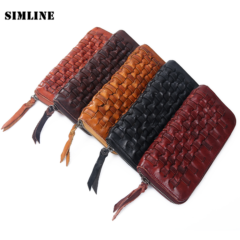 Handmade Business Men's Wallet Solid Real Leather Long Wallet Portable Cash Purses Casual Standard Wallets Male Clutch Bag cow genuine leather men s wallet male clutch bag solid long wallet portable cash purses casual wallets phone bag twizel hqb1849