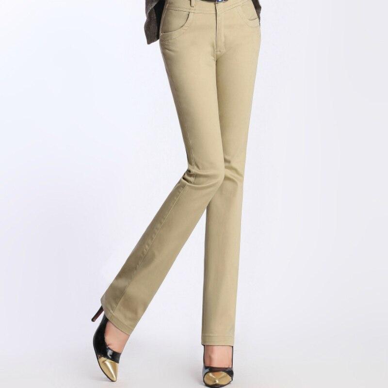 Новинка 2019 года; сезон весна осень; Хлопок; большие размеры; Офисная Леди с высокой талией; прямые женские брюки для девочек; одежда 79160