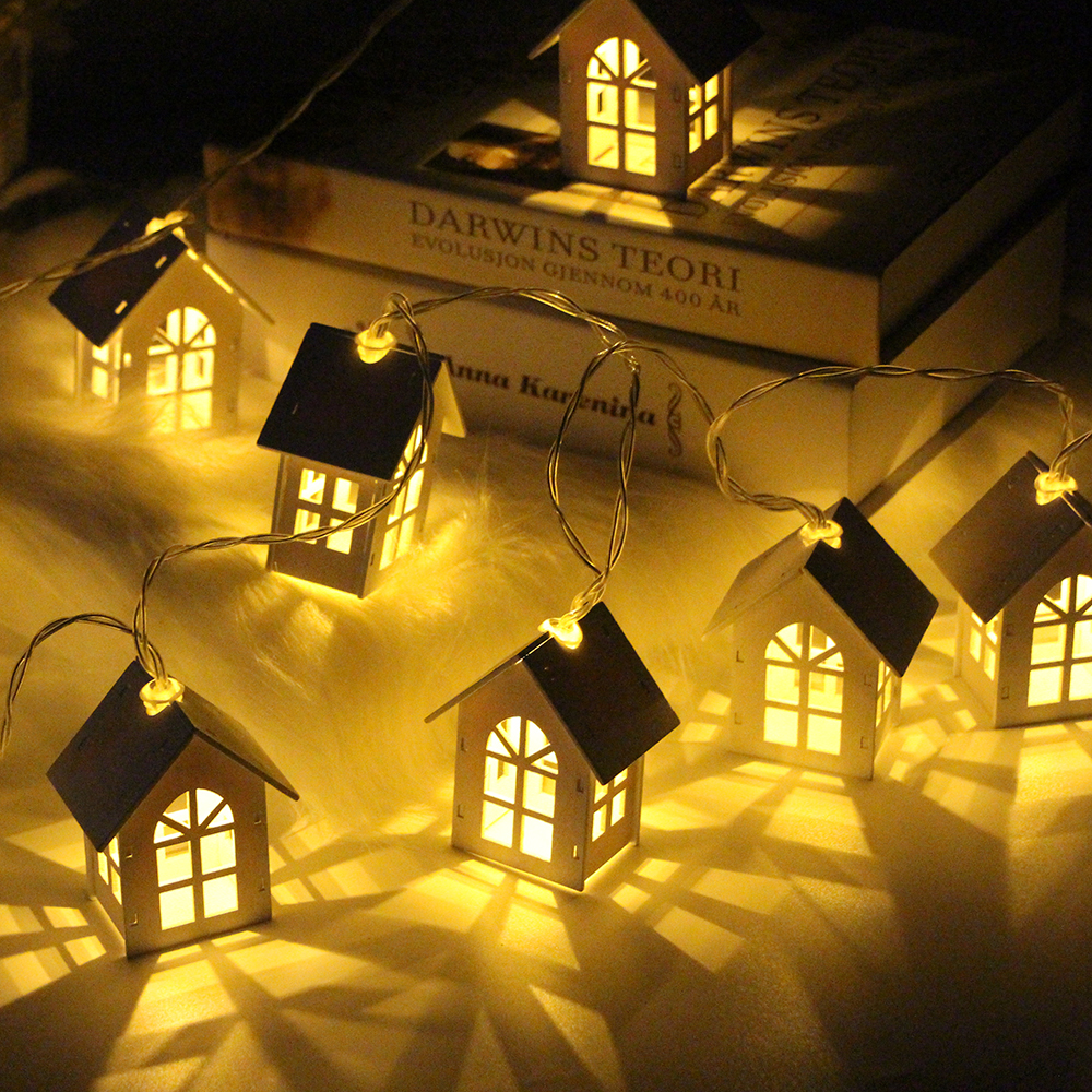2M 10pcs LED USB/battery Power Christmas Tree House Style Fairy Light Led String Wedding Natal Garland New Year Decor For Home