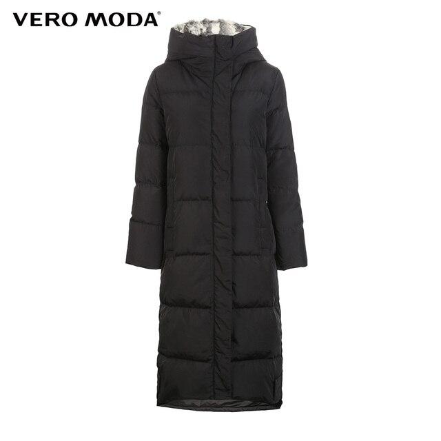 Vero Moda new detachable rabbit fur hooded long down jacket women   318312503 4