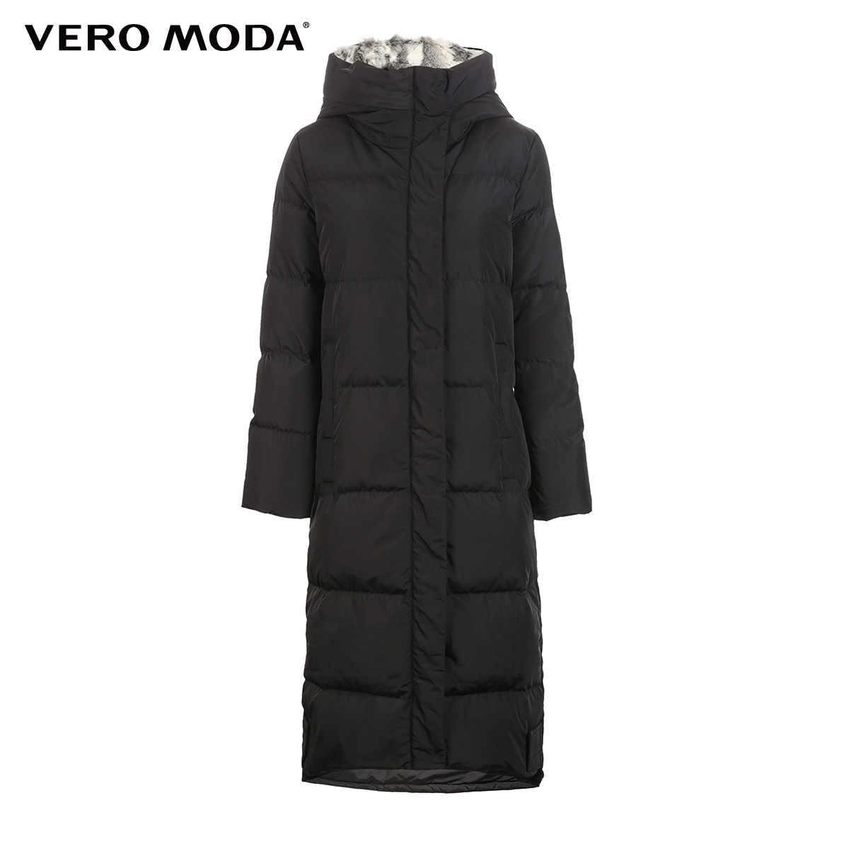 Vero Moda Новый Съемный длинный пуховик с капюшоном и кроличьим мехом для женщин | 318312503