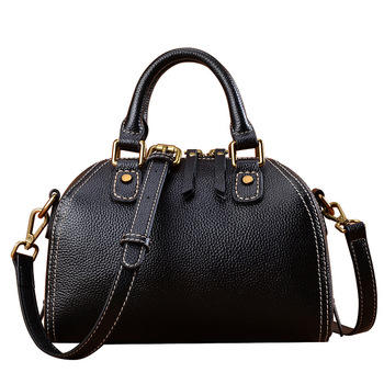 Genuine Leather New Style Women's Fashion Boston Bags Shouler Messenger Bags High Capacity Cow Leather Totes Flap Handbags