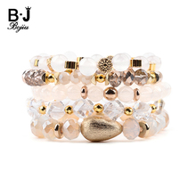 BOJIU 5 Pcs/Set Multilayer Women Charm Bracelets Faceted Crystal Round Pear Acrylic Copper Nuggets Rondelle BCSET249