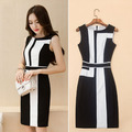 2016 Vestidos Women Summer dress Plus size black and white office dress Sleeveless Vest Stitching Chiffon dress female