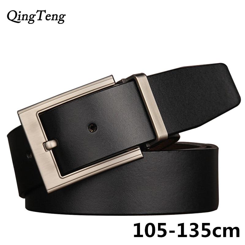 135cm Big Size Men Genuine Leather Belt Pin Buckle High Quality Strap Male Leather Jeans Wide Belt Vintage Cowboy Man Waistband