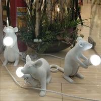 Современный творческая личность мини мышь лампа Детская Спальня прикроватный животного настольная лампа смолы Настольные лампы wl315547