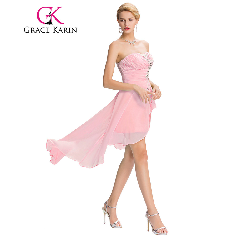 Grace Karin Strapless High Low Chiffon Prom Dresses Short Front Long ...