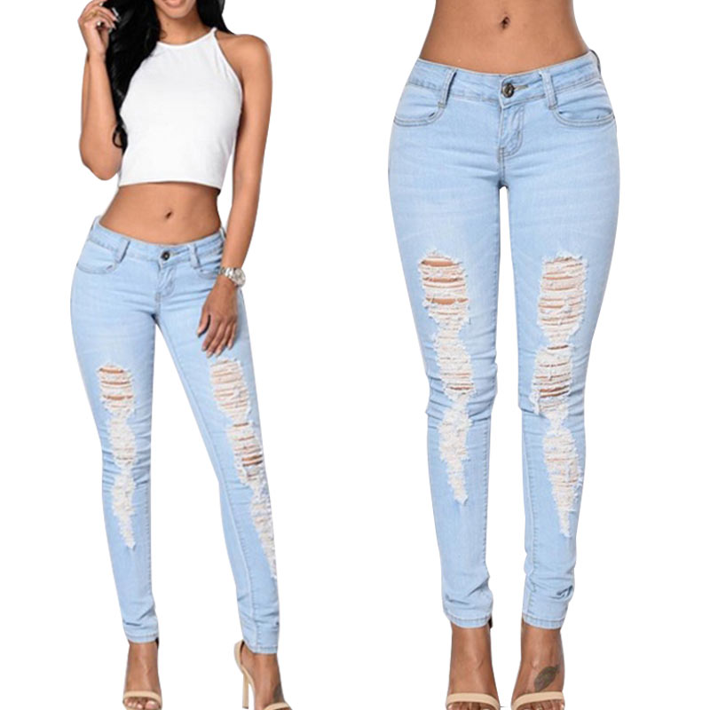 New Fashion Denim Ripped Pencil Jeans Pants Stretch Womens Ladies Cotton Skinny Slim Pants Trousers 88 -MX8 new men flower print skinny jeans fashion denim pencil trousers 0931