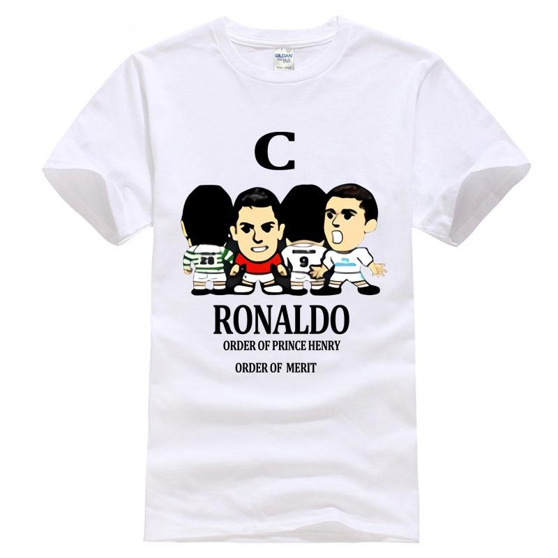 Printed Pure Cotton MenS t shirt 2018 Madrid footballer ronaldo hero man golden boot champions league