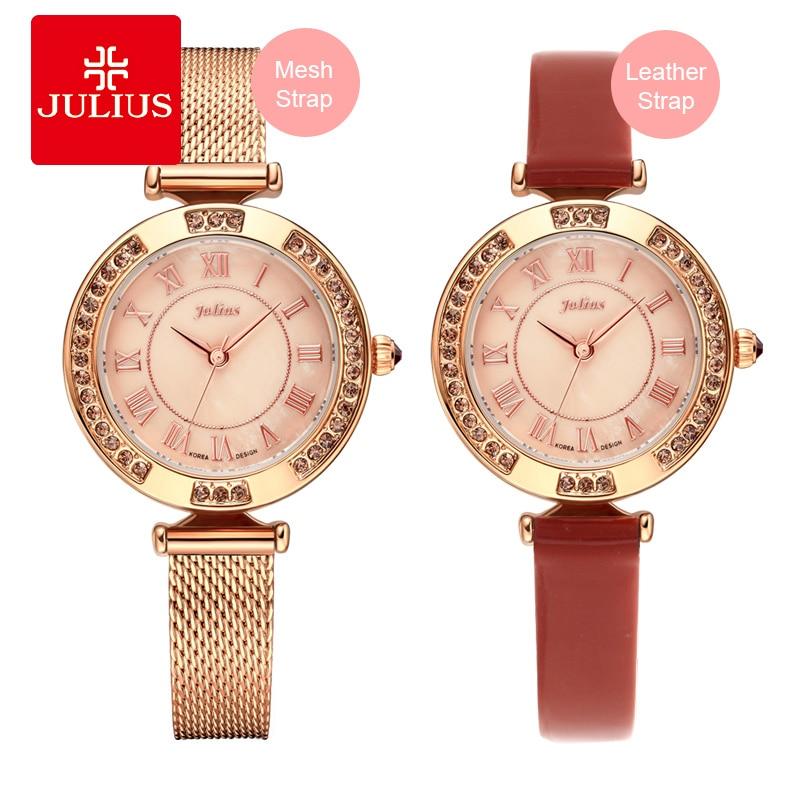 JULIUS Ladies Rose Gold Quartz Wrist Watches Get Free Watch Strap Womens Golden Luxury High End Waterproof Dress Watch C1