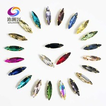 Free shipping 4x15mm 50pcs/pack Golden bottom Horse eye shape Glass Crystal sew on claw rhinestones,Diy Clothing accessories
