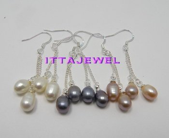 Wholesale 36 pairs 3 Colors mixed Freshwater Pearl Drop Earring Jewelry,Free Shipping