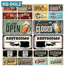 [SQ-DGLZ] abierto/cerrado placa decoración de pared para tienda baños estaño signo Vintage guía de ruta de letrero pintado placas cartel