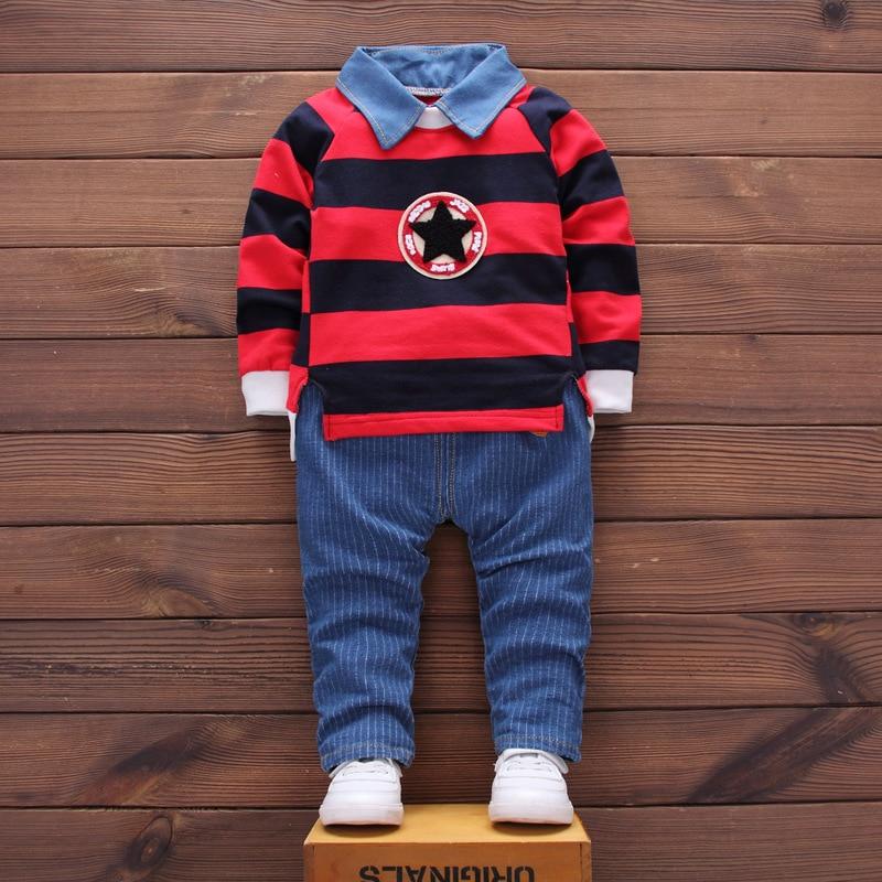 2017 Limited Sale Casual Cotton Broadcloth Unisex Kids Clothes Set Girls Outfits Tracksuit Children 2pcs Suit T-shirt+jeans