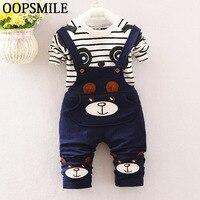 Baby Boy Gentleman Clothes Cotton Cartoon Striped Shirt Pants Infant Clothes 2pcs Suit Baby Boy Clothing