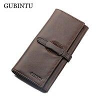 GUBINTU Brand 100 Genuine Cowhide Leather Men Long Wallet Coin Purse Vintage Designer Male Carteira Wallets