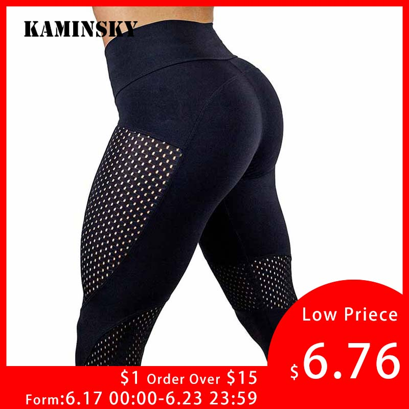 New Sexy Push Up Mesh   Leggings   For Women Elastic Patchwork Workout   Legging   Pants Women's Fashion Ladies Fitness   Leggings   Leggins