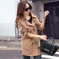 Осень женщины плащ пальто с отложным вниз воротник двубортная пальто хлопок сплошной цвет длинная плащ