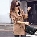2015 Autumn Fashion Women Trench Coat Turn-down Collar Double Breasted Coats Hot Sale Cotton Solid Color Long Trench Plus Size