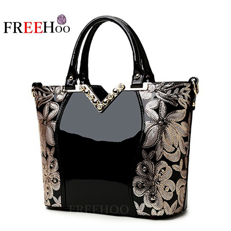 ФОТО  New 2017 Europe fashion women bags sequin embroidery Luxury patent leather famous brands design handbag women messenger bags