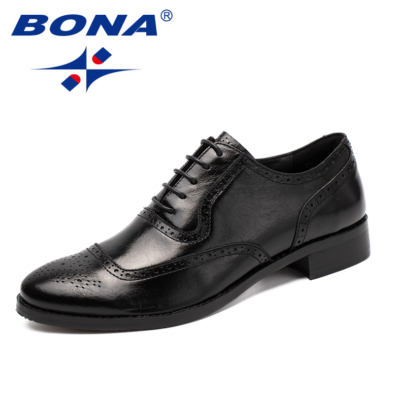 BONA New Classics Style Men Formal Shoes Geniune Leather Men Dress Shoes Lace Up Male Office
