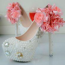 Custom White Pearls Big Flowers Women Wedding Shoes High Heel Platform Party Shoes Pure Handmade Bridal Shoes Plus Size EU34-45