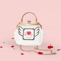Tay Làm Phụ Nữ Độc Đáo Túi Xách Da PU Túi Vai Nữ Wings Tim Thiết Kế Theo Phong Cách Cô Gái Pouch Bolsa Trường Bag Chains