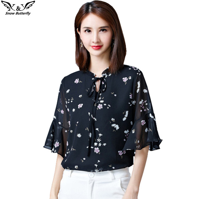 72c5ab6eb83 Snow butterfly 2019 summer women Chiffon top kimono blouses shirts casual elegant  tops plus size women's Bow blouse