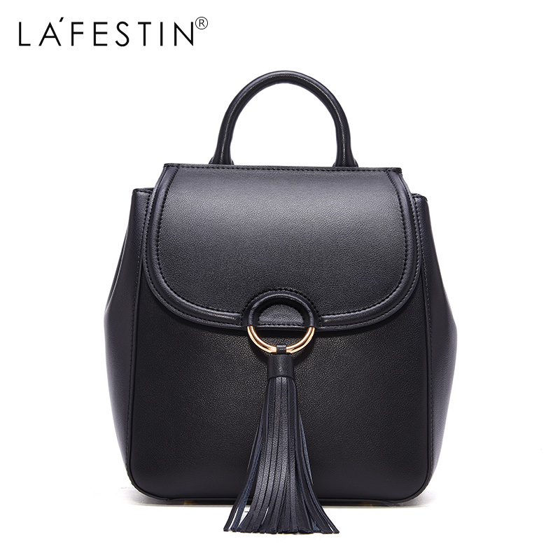 LAFESTIN Leather Mini Backpack Women Casual Bags Tassel Backpack Girls School Bags Real Leather Backpack Mochilas