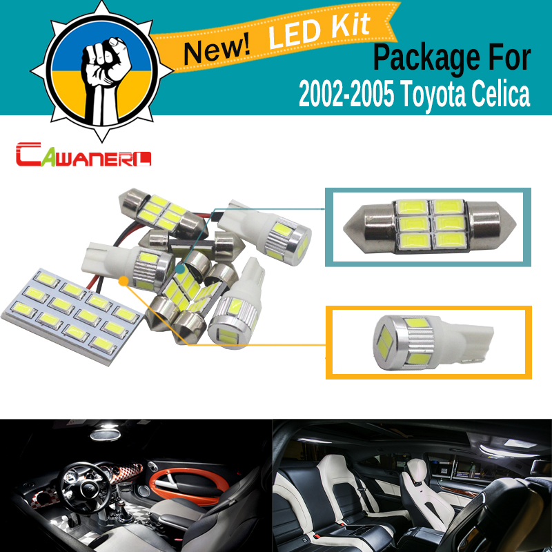 Cawanerl Car Interior LED Bulb White 5630 SMD LED Kit Package Dome Map Cargo License Plate Light For Toyota Celica 2002-2005 car styling 13pcs excellent canbus led bulb interior dome map light kit package for volkswagen vw passat b6 2006 2010