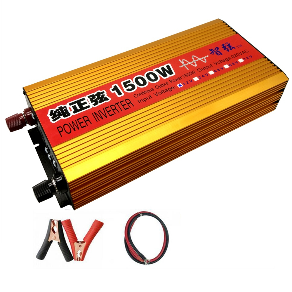 Continuous Power 1500W Pure Sine Wave OFF Grid Inverter DC 12V/24V to AC 220V 50HZ Power Inverter Converter /Voltage Display led display high frequency off grid dc to ac voltage converter 12v 220v inverter 3500w pure sine wave solar power inverter