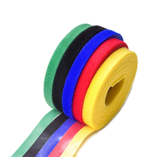 цена на Nylon Cable Ties Self Adhesive Hook Loop Fastener Reusable Cable Tie Wire Storage Nylon Sticker USB Tape Cloth Fiber