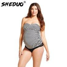 9399ccc5b Materity bañadores más tamaño rayas traje de baño badpak frente Cruz  tankini embarazada traje de baño sexy mujeres bikini Beach .