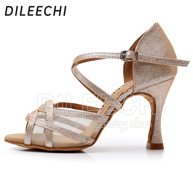 Image 3 - DILEECHI Latin dance shoes Women Flash Satin Gold Silver Black wide thin high heel 9cm Salsa Performance Ballroom dancing shoes-in Dance shoes from Sports & Entertainment