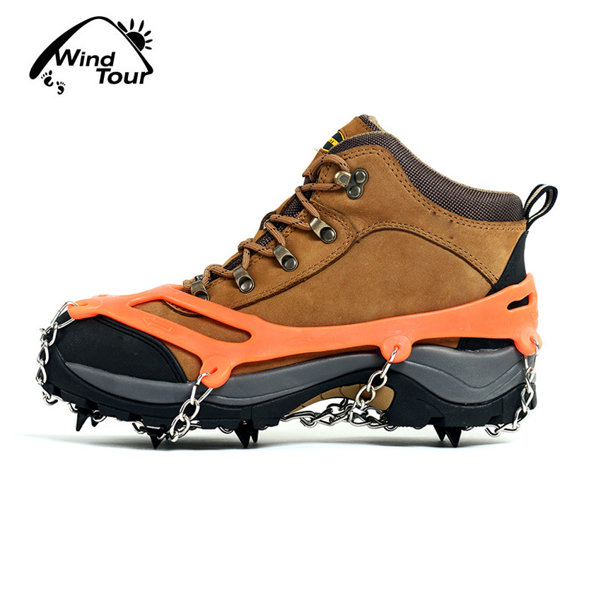 1 Pair Eight Teeth Bundled Crampons Ice Gripper Outdoor Sport Climbing Hiking Skiing Shoe Spike Grip Anti Slip Boots Chain VK038